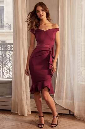 Lipsy Ruffle Bardot Satin Panel Bodycon Dress - 6 - Purple