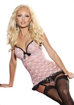 Shirley of Hollywood Women's Sexy Padded Push Up Stretch Lace Chemise
