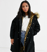 Thumbnail for your product : ASOS DESIGN Petite luxe parka with faux fur animal lining in black
