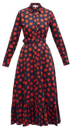 Borgo de Nor Augusta Ram Pam Pam Cotton-poplin Shirt Dress - Womens - Red Navy