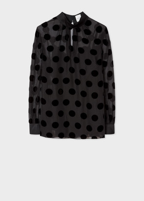 Paul Smith Women's Black Silk-Blend Sheer Top With Polka Dots