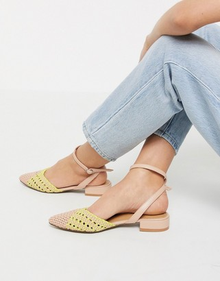 Asos DESIGN Location woven slingback ballet flats in yellow/beige