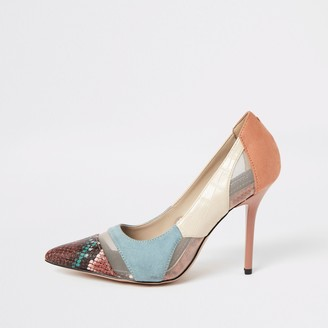 River Island Womens Blue snake printed mesh wide fit court shoes
