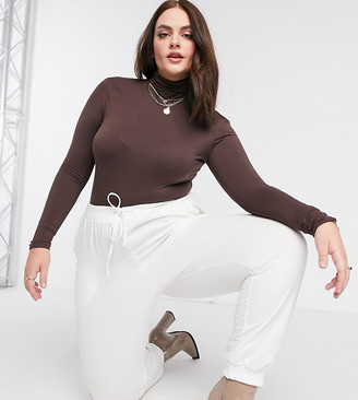 Flounce London Plus basic roll neck long sleeve body in chocolate brown