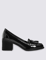 M&S Collection Wide Fit Block Heel Fringe Loafers