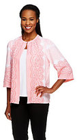 Bob Mackie As Is Bob Mackie's Lace Print Jacket with Button Closure