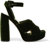 Miu Miu Velvet Platform Sandals - Green