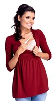 Zeta Ville Fashion Zeta Ville - Womens Maternity Nursing Empire Line Top Layered Neckline - 280c (