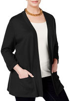 Karen Scott Plus Open Tab-Sleeve Cardigan