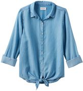 Girls 7-16 & Plus Size SO® Tie-Front Chambray Shirt