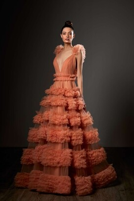 Ziad Germanos Tiered Ruffled V-Neck A-Line Gown