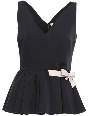Roksanda Bow-detailed Two-tone Stretch-crepe Peplum Top