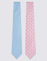 M&S Collection 2 Pack Spotted & Floral Ties