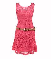 My Michelle 7-16 Drop-Waist Crocheted Dress