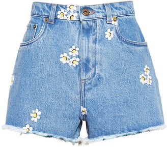 Miu Miu Embroidered Floral Shorts