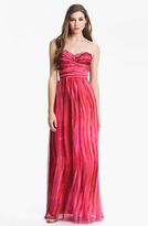 Laundry by Shelli Segal Strapless Twist Front Chiffon Gown