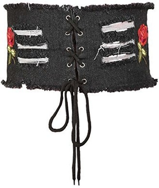 Fashion Star Womens Rip Rose Embroidery Eyelet Lace Tie Up Denim Waistband Corset Belt