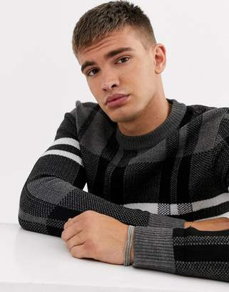 Burton Menswear checked jumper in grey