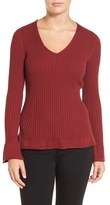 Halogen Bell Sleeve Rib Knit V-Neck Sweater (Regular & Petite)