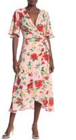 Bobeau Flutter Sleeve Midi Wrap Dress