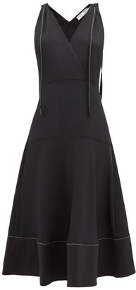 Proenza Schouler Pswl - Wrap-front Topstitched-edge Flared Dress - Womens - Black