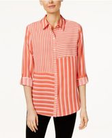 Charter Club Striped Roll-Tab Shirt, Only at Macy's