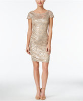 Calvin Klein Sequined Lace Illusion Sheath Dress
