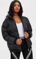 PrettyLittleThing Black Oversized Puffer Jacket with Zip Pockets