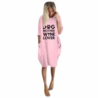 Kalorywee Women Coats And Jackets KaloryWee Women's Letter Print Sweatshirt Pullover Sweaters Long Sleeve Jumper Long Tops Pullover Mini Sweatshirt Dress for Women Plus Size Pink