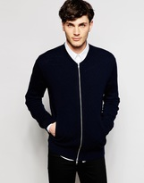 Peter Werth Knitted Bomber Jacket - Blue