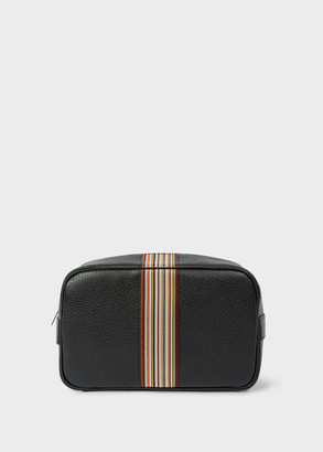 Men's Black Leather Signature Stripe Wash Bag