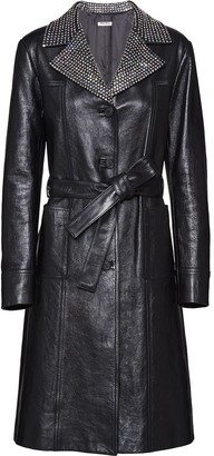 Miu Miu Studded Lapel Leather Coat
