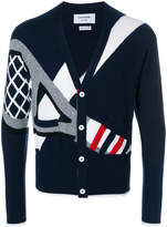 Thom Browne Classic V-neck Cardigan With Tennis Racket Intarsia In Cashmere