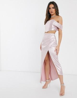 ASOS DESIGN drape maxi skirt with split detail co-or