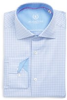 Bugatchi Men's Trim Fit Graphic Plaid Dress Shirt