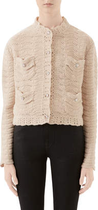 Gucci Crocheted Jewel-Button Cardigan
