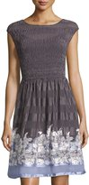 Max Studio Pleated Dress, Black/Chambray