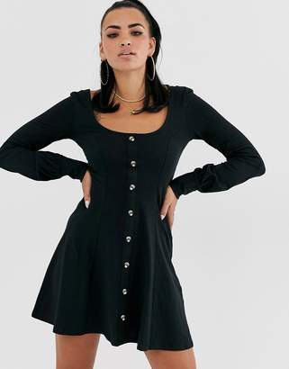 Asos Design DESIGN extreme scoop neck button through tea dress-Black
