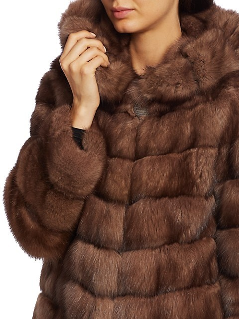 Thumbnail for your product : The Fur Salon Hooded Sable Fur Long Coat