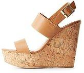 Charlotte Russe Bamboo Slingback Cork Wedge Sandals