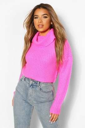 boohoo Petite Roll Neck Crop Sweater