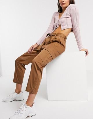 Only Petal tie waist cargo pants in brown