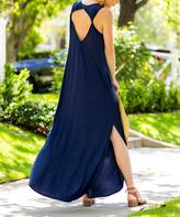 Sweet Pea Navy Twist-Accent Maxi Dress