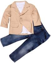 TONSEE 3 Pcs/set Kids Baby Boys Gentleman Coat+Shirt+Jeans Pants (6T)