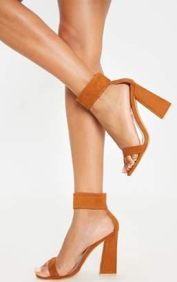 PrettyLittleThing Tan Ankle Cuff Block Heel Sandal
