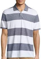 ST. JOHN'S BAY St. John's Bay Short Sleeve Stripe Pique Polo Shirt