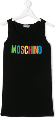MOSCHINO BAMBINO TEEN logo print tank top