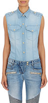 Balmain Women's Denim-Effect Sleeveless Shirt-Blue
