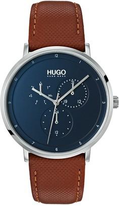 HUGO BOSS Men's Guide Multifunction Leather Strap Watch