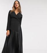 Asos Tall DESIGN Tall long sleeve wrap pleat midi dress in black